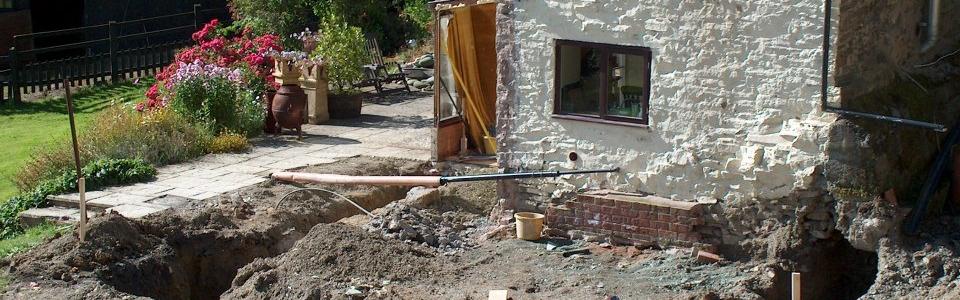 Footings dug and awaiting concrete. — at Bentlawnt